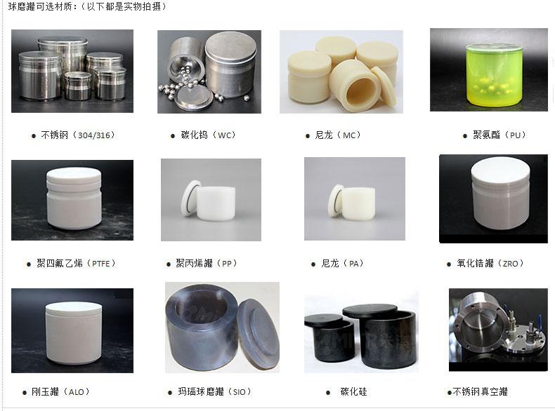 球磨罐系列材质选型