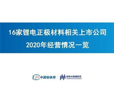 營收超200億!16家鋰電正極材料相關上市公司2020年經營情況一覽