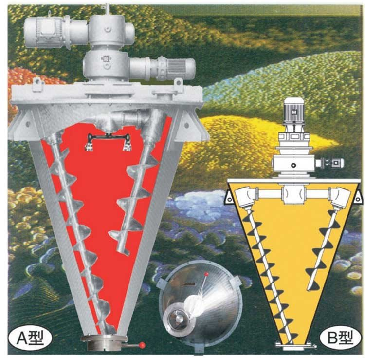 大开门双螺旋锥形混合机图片